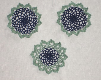 """New Handmade Crocheted """"83"""" Coaster/Doily - Lot of 3 in Navy and Celadon"""