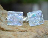 Rainbow Crystal Ice - Dichroic Glass Cufflinks .. Silver T-Bar Fittings - Clear with Hints of Purple- Blue- Green