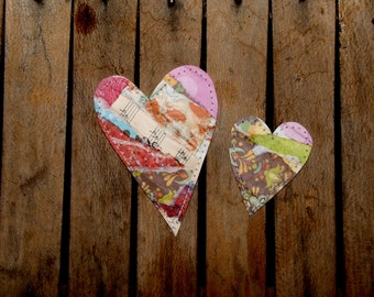 Set of 2 Fun, Funky and Whimsical Hearts for Scrapbooking, Card Making, Crafts, Tags/Set B