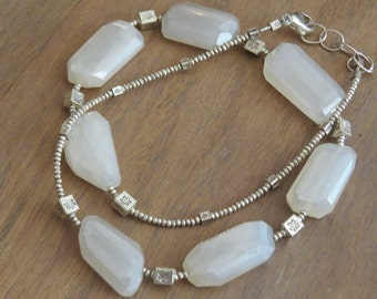 Fine Silver and Pearly Chalcedony Necklace