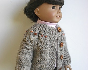 18 Inch Doll Clothes Knit Cardigan Sweater with Owls around Yoke in Tan Handmade to fit the American Girl Doll - Ready to Ship