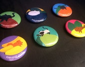 """1"""" pinback button set - Fruit Cats (pack of 6)"""