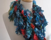 """turquoise red boa, ribbon scarf, spring scarf, turquoise scarf, silky scarf, gift scarf, spring scarf, handpainted scarf """"brillance"""""""