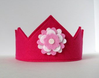 Wool Felt Crown -- fuschia with pink and white flower