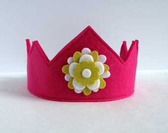 Wool Felt Crown -- fuschia with yellow and white flower