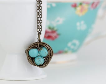 Bird Nest Necklace, Wire Wrapped With Turquoise Beads, Wonderful Gift for New Mom, Grandmother, Gift For Woman, Mothers Day Gift