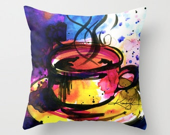 "Coffee Cup Pillow, Abstract Coffee Watercolor Painting Art, ""Coffee Dreams No. 8"" Original art painting by Kathy Morton Stanion  EBSQ"