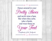Printable 8x10 Dance Around In Your Pretty Shoes Navy Blue and Hot Pink/Fuschia Wedding Flip Flop Basket Digital Sign - Instant Download