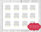 Printable Sheet of 12 Personalized Jordan Almond Poem Wedding Favor Tags - Black and Gold - Can Be Printed on White or Cream Card Stock