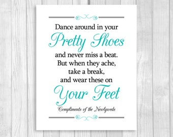 Printable 8x10 Dance Around In Your Pretty Shoes Black and Aqua/Pool Blue Wedding Flip Flop Basket Digital Sign - Instant Download