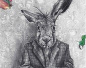 March Hare ACEO Rabbit Aceo Alice in Wonderland ACEO ATC Fantasy Art Alice in Wonderland Art