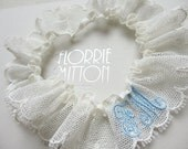 Love Letter personalised monogram embroidered tulle lace garter in ivory and blue perfect bridal shower gift something blue rose gold silver