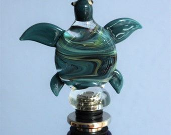 Teal Turtle Wine Stopper, Wine gift, Birthday Gift, Glass wine stopper