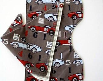 Modern Race Car Print Bib & Bandana Set Infant Boy Baby Shower Gift Set