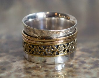 Stacking Ring, floral ring, Gold spinning ring, bohemian ring, unique band, fidget ring, wide unisex ring, flowers band - Finding Love R2274