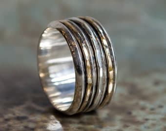 Gold Silver ring, two tone ring, boho chic jewelry, wide Wedding band, boho unisex band, silver ring, stack ring - Two of a kind R2278