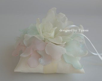 Ivory Wedding pillow with pink/ivory/mint flower---wedding rings pillow , wedding pillow, rings cushion