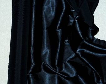 "Stretch Satin Black  fabric 52"" wide...bridal, lingerie , home decor, pajama's, sleep wear, formal wear"