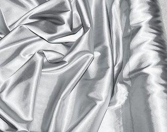 "Stretch Satin Silver fabric 52"" wide...bridal, lingerie , home decor, pajama's, sleep wear, formal wear"