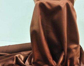 """Satin  Fabric 60"""" Copper 100% polyester ... bridal, formal, pageant, suits , home decor..wedding...crafts"""