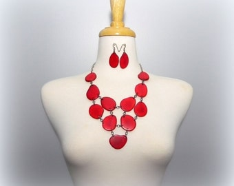 Big Bold Red Tagua Bib Eco Friendly Necklace with Free USA Shipping