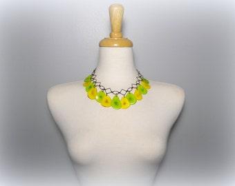 Lemon Yellow and Lime Green Tagua Nut Eco Friendly Bib Statement Necklace with Free USA Shipping #taguanut #ecofriendlyjewelry