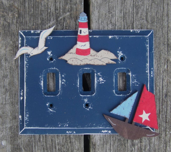 Switch plate cover lighthouse hand painted wood for Lighthouse switch plates