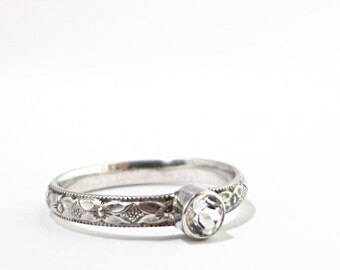 White Topaz ring, Sterling Silver, faceted clear gemstone, Birthstone jewelry
