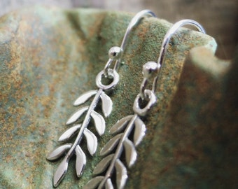 Sterling Silver Leaf earrings, long leaves, Nature jewelry