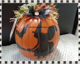 Trick or Treat Faux Pumpkin with Flying Witch Silhouette Hand Painted and Accent Tag Included, Display, Fall, Halloween, ECS