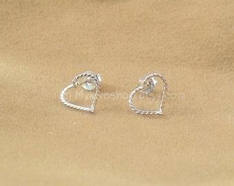 Twisted Silver Heart Earrings, 925 Sterling Silver, women earrings, heart earrings, Cartilage piercing stud, Friendship bridesmaids gift
