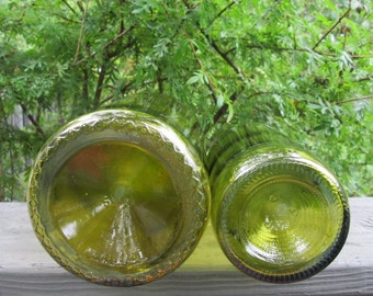 Two Vintage Wine Bottles - Greenish Gold/Goldish Green - Suncatchers