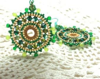 Mandala circle jewelry Earrings Handmade earrings beadwork earrings Gold and green earrings