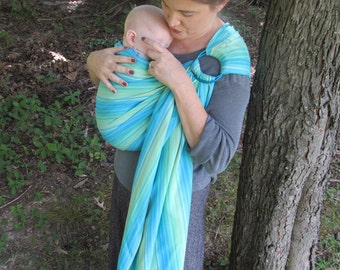 Wrap Conversion Ring Sling Baby Carrier - WCRS - Little Frog Aventurine - Twill Weave Pleated Shoulder - DVD included