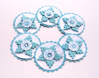 Handmade Paper Scrapbook Embellishments, Light Blue and White Quilled Flowers Snowflake Centers