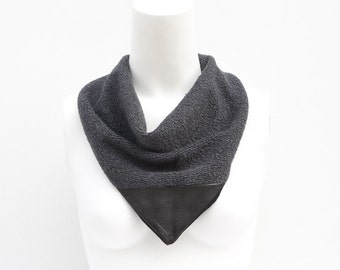 Gray Black Leather Neckerchief Cowl Scarflette