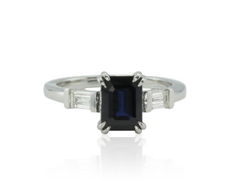 Sapphire Engagement Ring, Emerald cut Blue Sapphire Engagement Ring with Diamond Baguettes - Three Stone Ring - LS1312