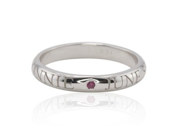 Mother's Ring with Engraved Names, White Gold Engraved Birthstone Ring, White Gold Personalized Mother's Ring - LS3900