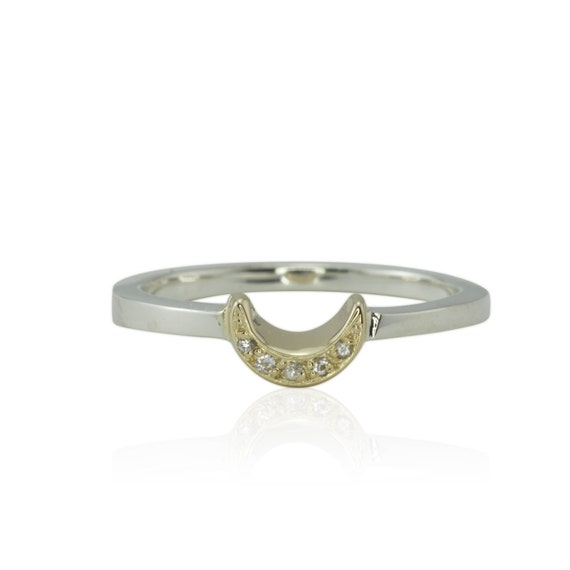 Moon Ring, Crescent Moon Right Hand Ring or Wedding Band - LS1562