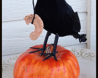 Creepy Halloween decoration  Crow Holding a Desiccated zombie Ear Halloween Party Halloween Ornament