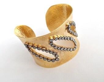 White Zircon Stone CUFF Bracelet