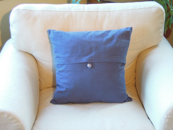 Sale - Pillow with Button, Indigo, Pillow, Hemp, Cotton, Blue, 18x18, Decorative Throw Pillow