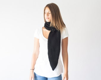 Knit Black scarf knit neckwarmer with three buttons cowl knit collar long scarf button neck warmer neck warmer