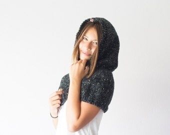 Black knit cowl with hood,black knit hood,black hoodie,knit hoodie cowl,collar,gift for her