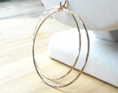 Simple Gold Hoop Earrings, Hammered Thin Gold Filled Hoops, Lightweight Gold Earrings