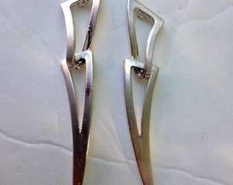 SIlver Earrings LONG Avant Garde VIntage 80s Geometric