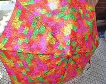 Vintage Umbrella Lutice Handle Neon Colors 60s