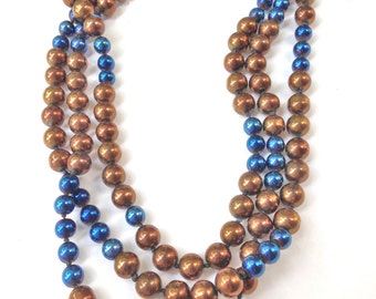 Copper Necklace with Cobalt Beads Hand Knotted LONG