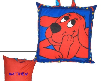 DAY CARE PILLOW - Made From Clifford the Big Red Dog Fabric - Great For Travel & Car Trips!