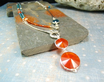 Carnelian Two-Strand Original Necklace, Whimsey Design, Gem Grade Carnelian, Red and Teal, Colorful and One of a Kind.